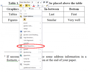 Choose Table Properties from the context menu by right clicking on a table.