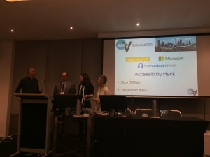 Josh getting ready to award the winners of the accessibility hack