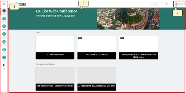 The home page will be for the Web Conference with a list of sessions