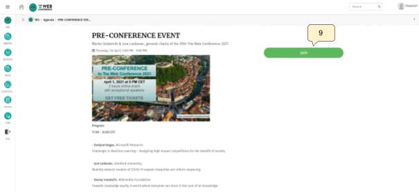 Conference information with join button