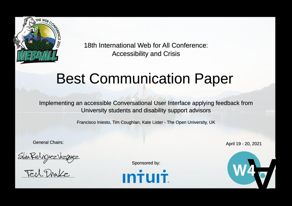 2021 Web4All - Best communication paper award