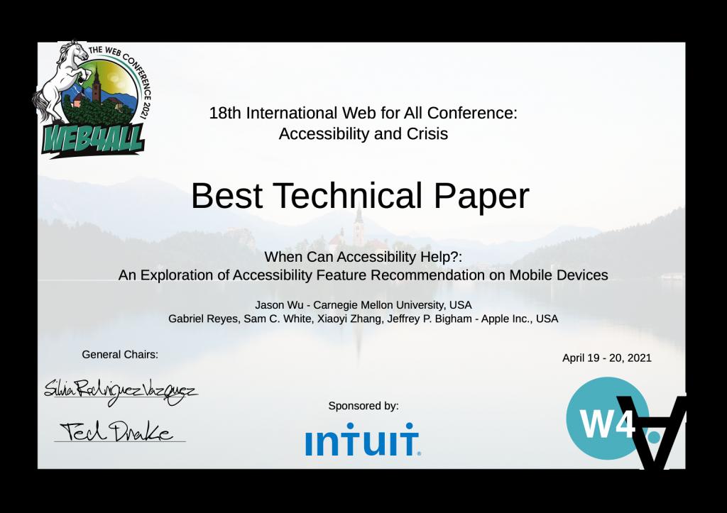 2021 Web4All - Best technical paper award